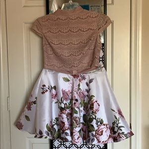Floral Homecoming Dress- 2 piece